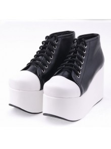 "Black 3.9"" Heel High Lovely Suede Round Toe Cross Straps Platform Women Lolita Shoes"