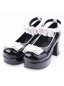 "Black 2.9"" Heel High Romatic Suede Round Toe Bowknot Platform Women Lolita Shoes"