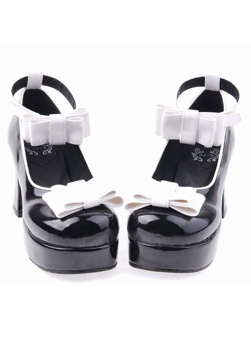 "Black 2.9"" Heel High Romatic Suede Round Toe Bowknot Platform Women Lolita Shoes"
