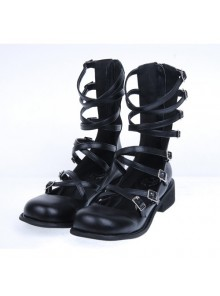 "Black 1.0"" Heel High Special Suede Round Toe Ankle Straps Platform Girls Lolita Shoes"