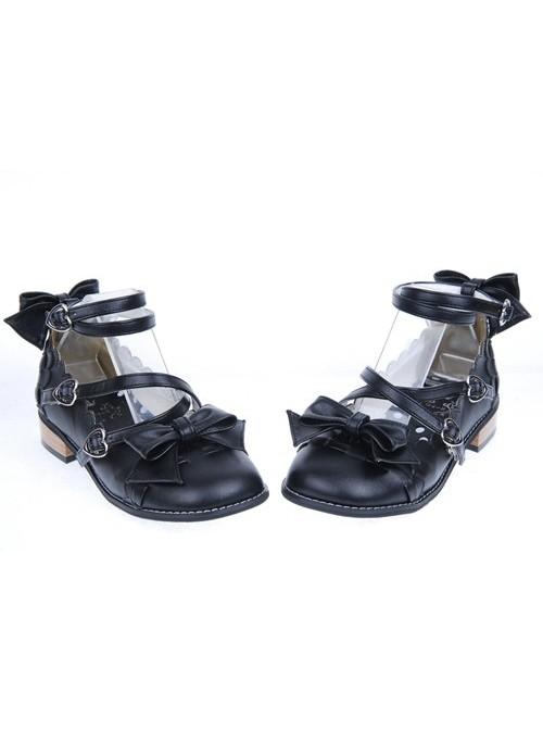 Black Flat Heel Cute Synthetic Leather Point Toe Bowknot Platform Girls Lolita Shoes