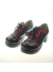 "Black 1.8"" Heel High Beautiful Synthetic Leather Round Toe Cross Straps Platform Girls Lolita Shoes"