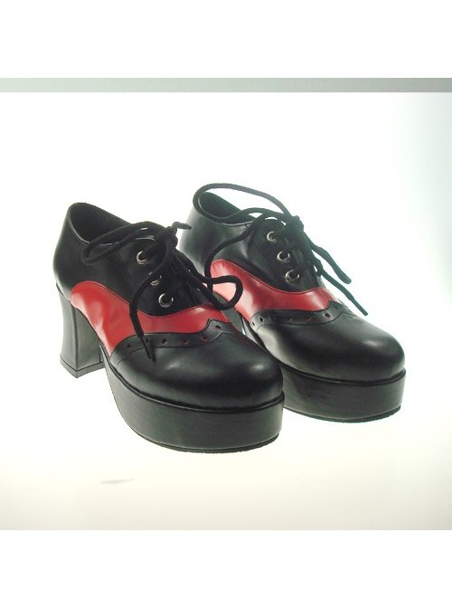 "Black 2.9"" Heel High Beautiful Synthetic Leather Point Toe Cross Straps Platform Girls Lolita Shoes"