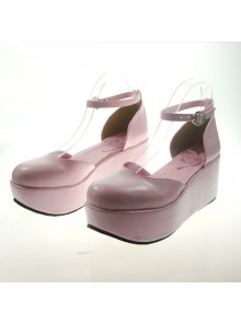 "Pink 2.7"" Heel High Romatic Synthetic Leather Point Toe Ankle Straps Platform Girls Lolita Shoes"