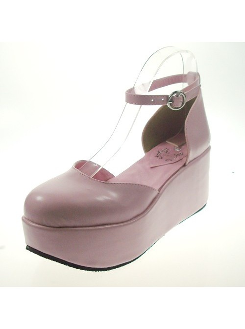 """Pink 2.7"""" Heel High Romatic Synthetic Leather Point Toe Ankle Straps Platform Girls Lolita Shoes"""