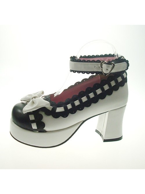 """White & Black 2.9"""" Heel High Cute Synthetic Leather Round Toe Bowknot Platform Girls Lolita Shoes"""