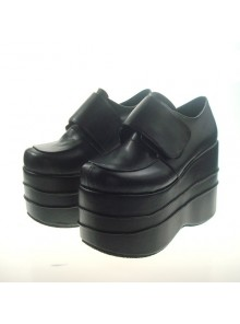 "Black 4.7"" Heel High Adorable Synthetic Leather Round Toe Platform Girls Lolita Shoes"