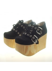 "Black 3.7"" Heel High Special Lint Round Toe Cross Straps Platform Girls Lolita Shoes"