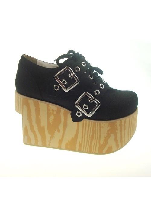 "Black 3.7"" Heel High Special Lint Round Toe Cross Straps Platform Girls Lolita Shoes"