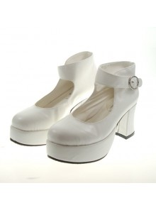 "White 2.9"" Heel High Lovely Suede Point Toe Ankle Straps Platform Girls Lolita Shoes"