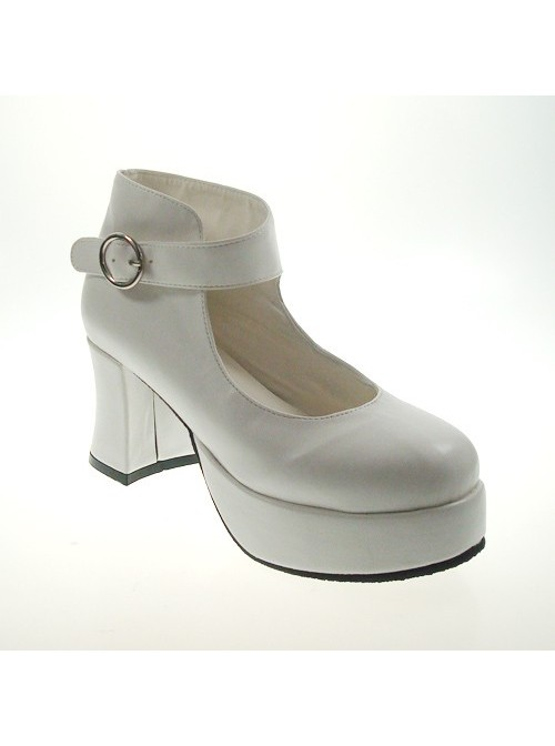 """White 2.9"""" Heel High Lovely Suede Point Toe Ankle Straps Platform Girls Lolita Shoes"""