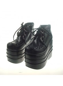"Black 4.7"" Heel High Adorable Suede Round Toe Cross Straps Platform Women Lolita Shoes"