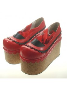 "Red 3.9"" Heel High Beautiful Patent Leather Round Toe Ankle Straps Platform Women Lolita Shoes"