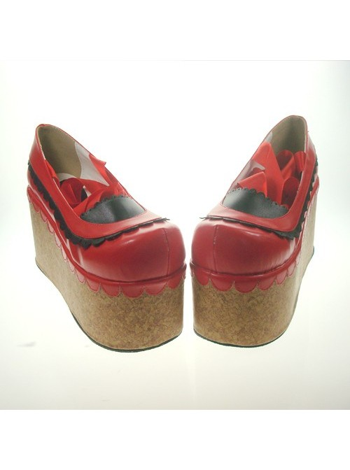 """Red 3.9"""" Heel High Beautiful Patent Leather Round Toe Ankle Straps Platform Women Lolita Shoes"""