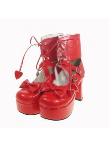 "Red 3.7"" Heel High Romatic Patent Leather Round Toe Ankle Straps Platform Women Lolita Shoes"
