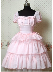 Pink Short Sleeves Square Collar Lovely Cake Lolita Dress