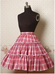 Red Check Pattern Ruffle Lolita Skirt