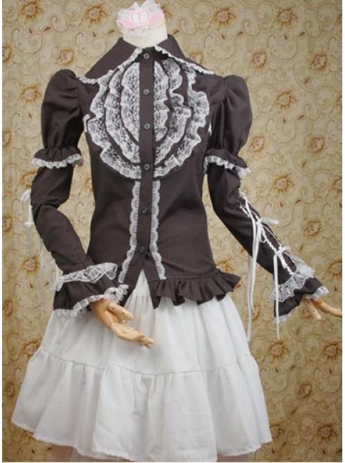 Black Lotus Leaf Long Sleeves Shirt and White Lolita Skirt