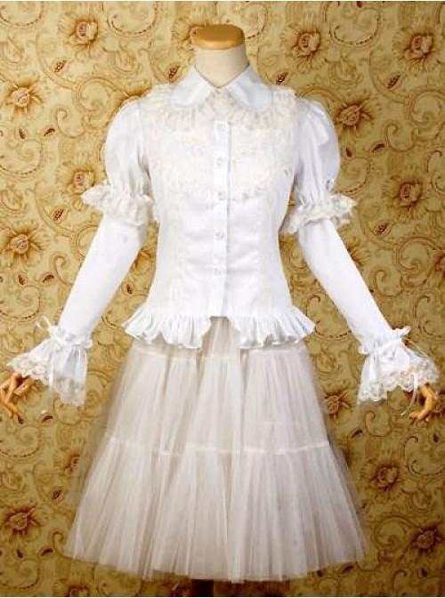 White Long Sleeves Shirt and Chiffon Lolita Skirt