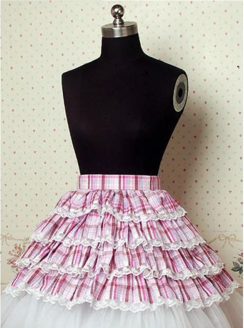 Light Purple Check Pattern Cake Lolita Skirt