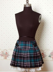 Blue Check Pattern Pleated Lolita Skirt