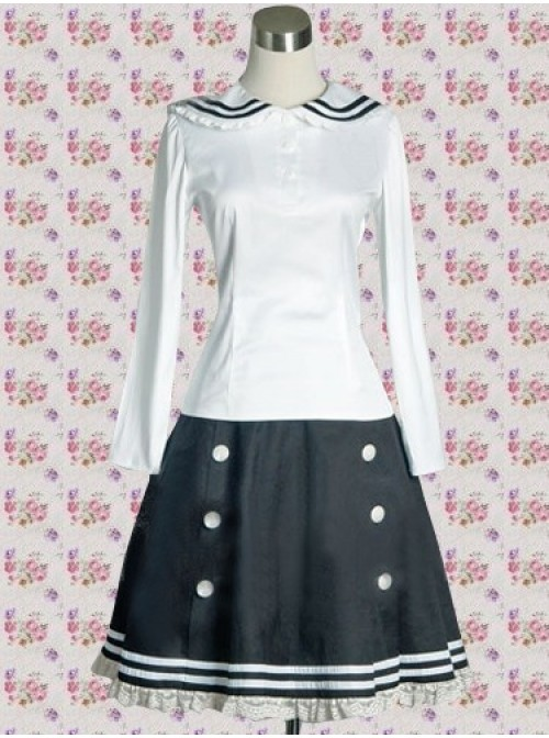 White and Blue Japanese School Uniform Long Sleeves School Blouse And Skirt Set