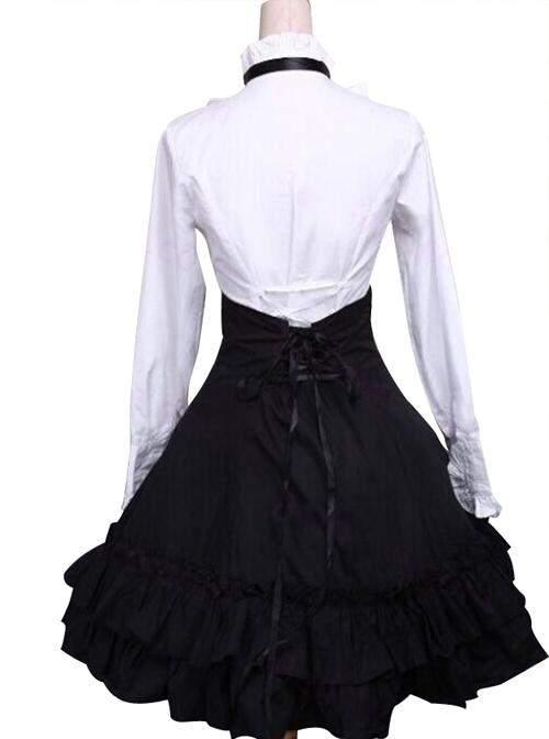 Classic White Cotton Lolita Blouse & Black Lace Lolita Skirt
