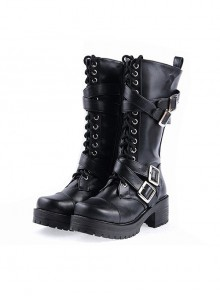 "Black 2.2"" High Heel Stylish Patent Leather Straps Buckles Gothic Lady Lolita Boots"