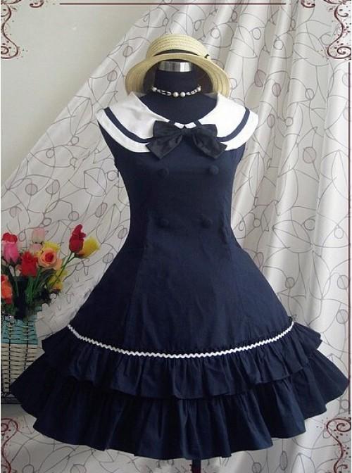 Blue Sleeveless Bow Preppy Style Cotton Lolita Dress