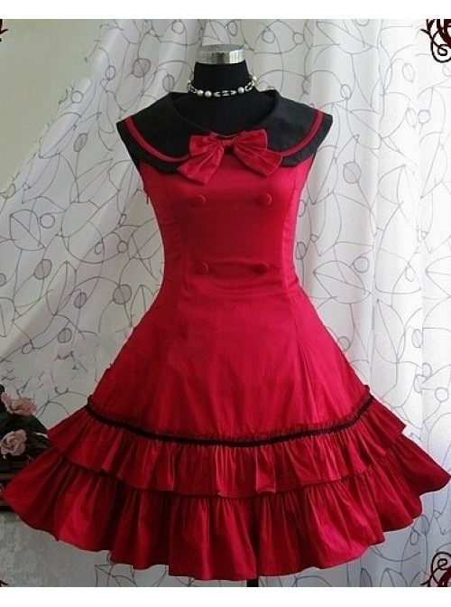 Red Sleeveless Bow Preppy Style Cotton Lolita Dress