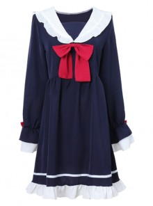 Blue Long Sleeves Bow Chiffon School Lolita Dress