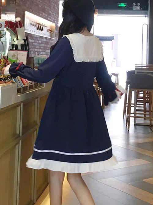 Blue Long Sleeves Bow Chiffon School Lolita Dress
