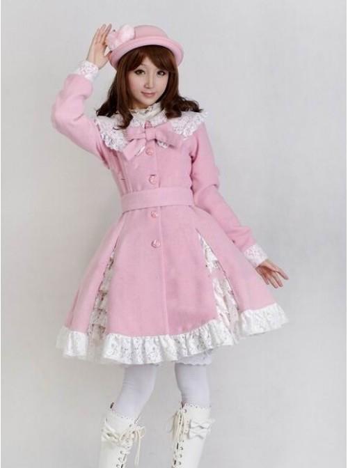 Glamorous Pink Long Sleeves Bow White Lace Lolita Coat