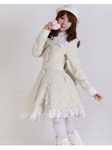 Glamorous Beige Long Sleeves Bow White Lace Lolita Coat