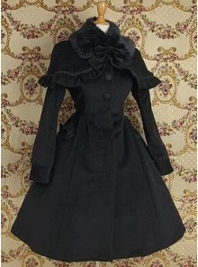 Gothic Black Wool Cape Lolita Coat