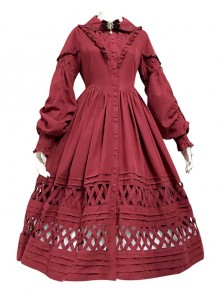 Lovely Long Sleeves Red Bow Cotton Lolita Dress