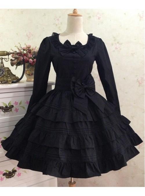 Gothic Long Sleeves Black Cotton Lolita Dress
