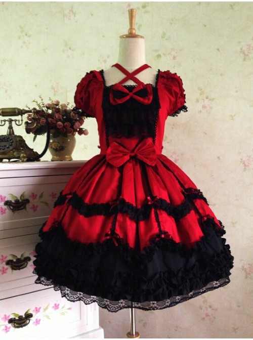 Sweet Short Sleeves Red And Black Lace Cotton Lolita Dress