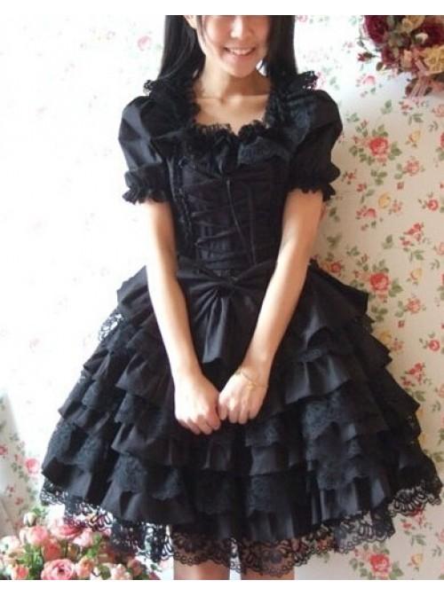 Black Short Sleeves Ruffle Sweet Cotton Lolita Dress