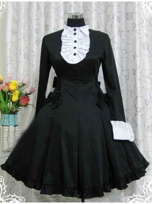 Black Long Sleeves Ruffle Classic Lolita Dress