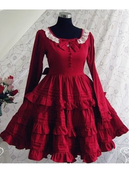 Red Long Sleeves Ruffle Classic Lolita Dress
