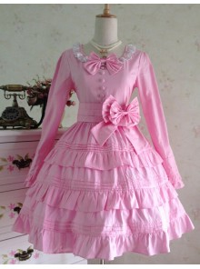 Sweet Long Sleeves Pink Bow Cotton Lolita Dress