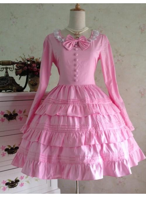 Sweet Long Sleeves Pink Bow Cotton Lolita Dress