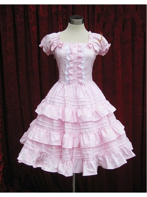 Pink Short Sleeves Ruffle Sweet Lolita Dress