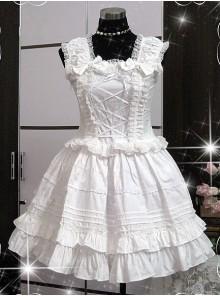 White Sleeveless Ruffle Cute Cotton Lolita Dress