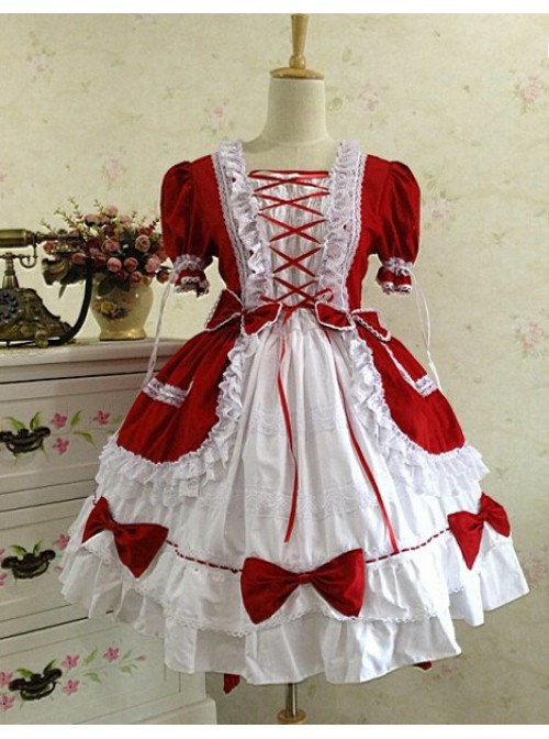 Gothic Long Sleeves Red And White Lace Cotton Lolita Dress