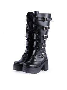 Black PU Straps Buckles Punk Rock Women's Gothic Lolita High Heel Boots