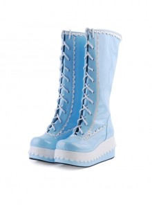 "Sky Blue 2.8"" High Heel Cute PU Round Toe Sweet Girls Lolita Boots"