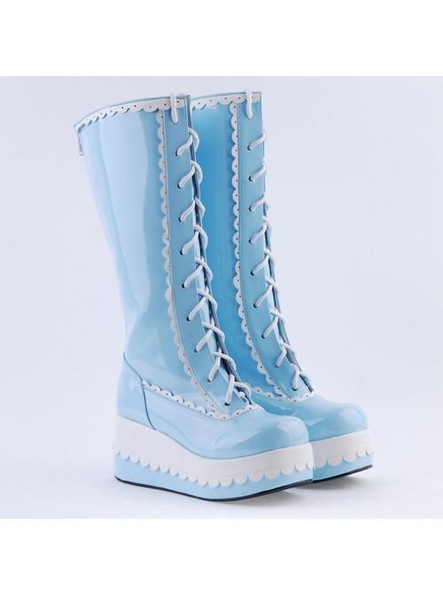 "Sky Blue 2.8"" High Heel Cute PU Round Toe Sweet Girls Lolita Boots"