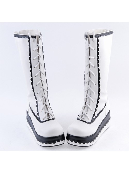 """Black and White 2.8"""" Lovely PU Round Toe Sweet Girls Lolita Boots"""